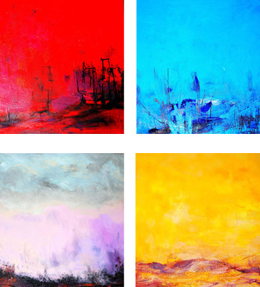 24×24 set of 4 paintings